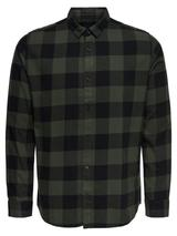Cotton Check Shirt in Green and Black