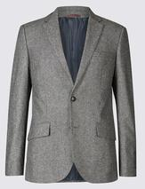 Textured Tailored Fit Jacket in Grey