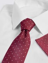 Slim Polka Dot Pure Silk Tie & Pocket Square Set in Red