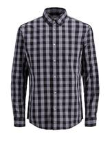 Long Sleeve Gingham Shirt in Black and Grey