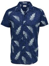 Slim Fit Printed Shirt With Camp Collar in Navy