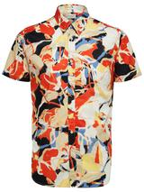 Slim Fit Printed Shirt With Camp Collar in Multicoloured