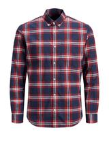 Long Sleeve Linen Mix Shirt in Red and Navy