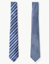 2 Pack Textured & Striped Ties in Blue