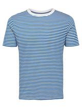 Regular Fit Stripe T-Shirt in White and Blue