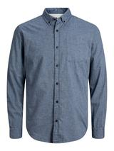 Long Sleeve Melange Shirt in Blue