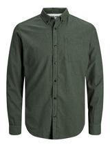 Long Sleeve Melange Shirt in Green