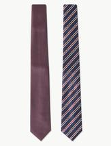 2 Pack Textured & Striped Ties in Red and Navy
