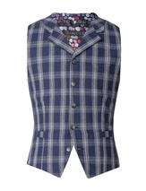 Navy With White Check Waistcoat in Navy