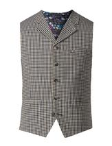 Navy And Olive Gingham Check Waistcoat in Green