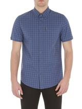 Washed Blue Short Sleeve Button Down Gingham Shirt in Blue