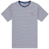 Slim Multi-Striped T-Shirt in White and Navy