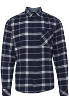 Woven Check Shirt in Navy