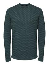 Organic Cotton Structured Knit Jumper in Green