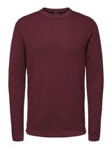 Organic Cotton Structured Knit Jumper in Red