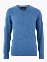 Pure Cashmere V-Neck Jumper in Blue