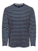 Long Sleeve Stripe Tee in White and Navy