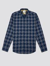 Textured Check Shirt in Navy