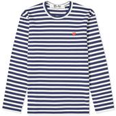 Comme des Garcons Play Little Red Heart Long Sleeve Stripe Tee in White and Navy