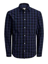 Plus Size Gingham Shirt in Navy