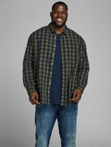 Plus Size Gingham Shirt in Green and Navy