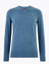 Cashmilon™ V-Neck Jumper in Blue