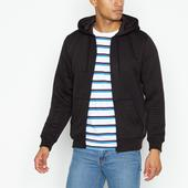 Black Ribbed Hoodie in Black