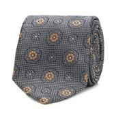 Grey Floral Embroidered Silk Tie in Grey