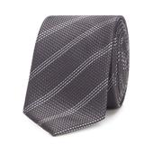 Grey Striped Slim Tie in Grey