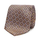 Gold Silk Floral Tie in Yellow and Navy