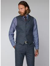 Gibson Grey Black Teal Graph Check Waistcoat in Blue