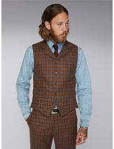 Gibson Tan, Teal And Orange Check Waistcoat in Brown