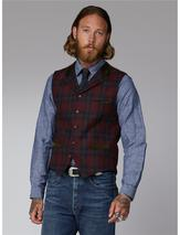Gibson Red Green Tartan Check Waistcoat in Red