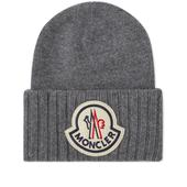 Moncler Large Logo Oversized Wool Beanie in Grey