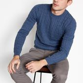 Mid Blue Cable Knit Cotton Jumper in Blue