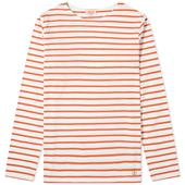Armor-Lux Long Sleeve 73792 Mariniere Tee in Orange and White