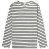 Armor-Lux Classic Long Sleeve Breton Tee in Neutral and Grey