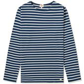 Armor-Lux Classic Long Sleeve Breton Tee in Neutral and Blue