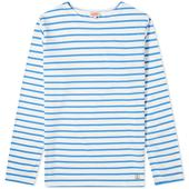 Armor-Lux Long Sleeve 73792 Mariniere Tee in White and Blue