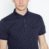 Navy Geometric Print Polo Shirt in Navy