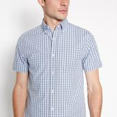 Blue Checked Short Sleeve Regular Fit Shirt in Blue