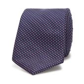Pink Micro Dot Slim Tie in Navy