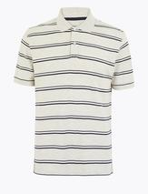 Cotton Striped Polo Shirt in Neutral