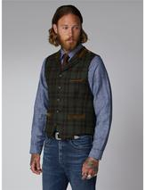 Gibson Green And Tan Tartan Check Waistcoat in Brown and Green