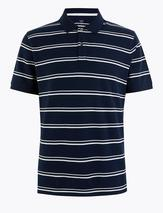 Cotton Striped Polo Shirt in Navy