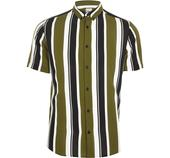 Mens River Island Green stripe short sleeve slim fit shirt in Multicoloured