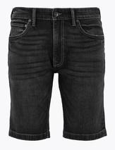 Slim Fit Stretch Denim Shorts in Black