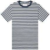 Albam Classic Stripe Tee in White and Navy
