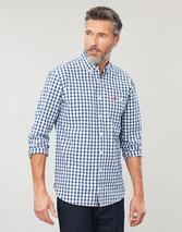 Hewney Long Sleeve Classic Fit Shirt in White and Blue