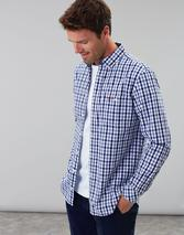 Abbott Long Sleeve Classic Fit Peached Poplin Shirt in White and Navy